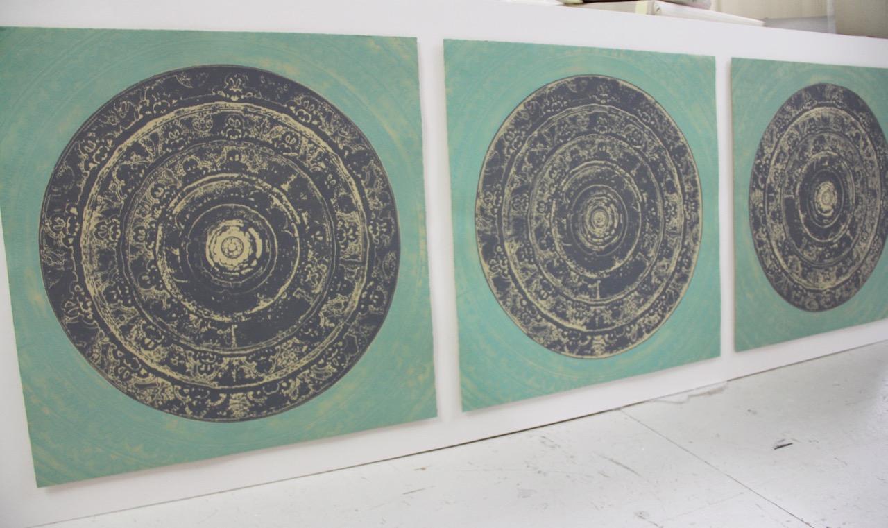 Rasa Triptych (warm slate grey and soft green) – Natasha